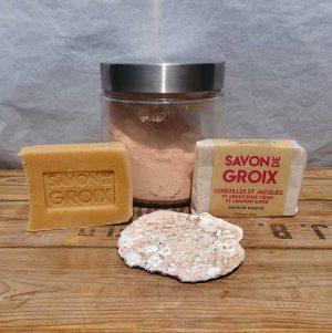 savon à la poudre de coquilles St Jacques ultra fine argile rose